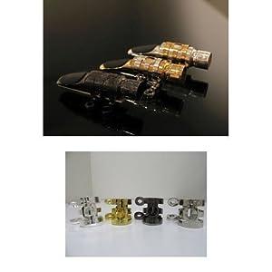 マルタ アルトサクソフォン・マウスピース メタル ガンメタメッキ サイズ:M5 & リガチャー:ガンメタメッキ