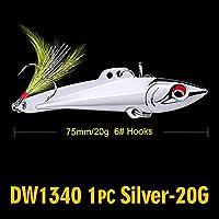 Cjxパワーアダプタ フェザー2色メタルベイト釣りと1PC鉛筆-VIB釣りルアー7センチメートル-8センチメートル/ 15グラム、20グラムベースベイト6#高炭素フックタックル (色 : 20G Silver)
