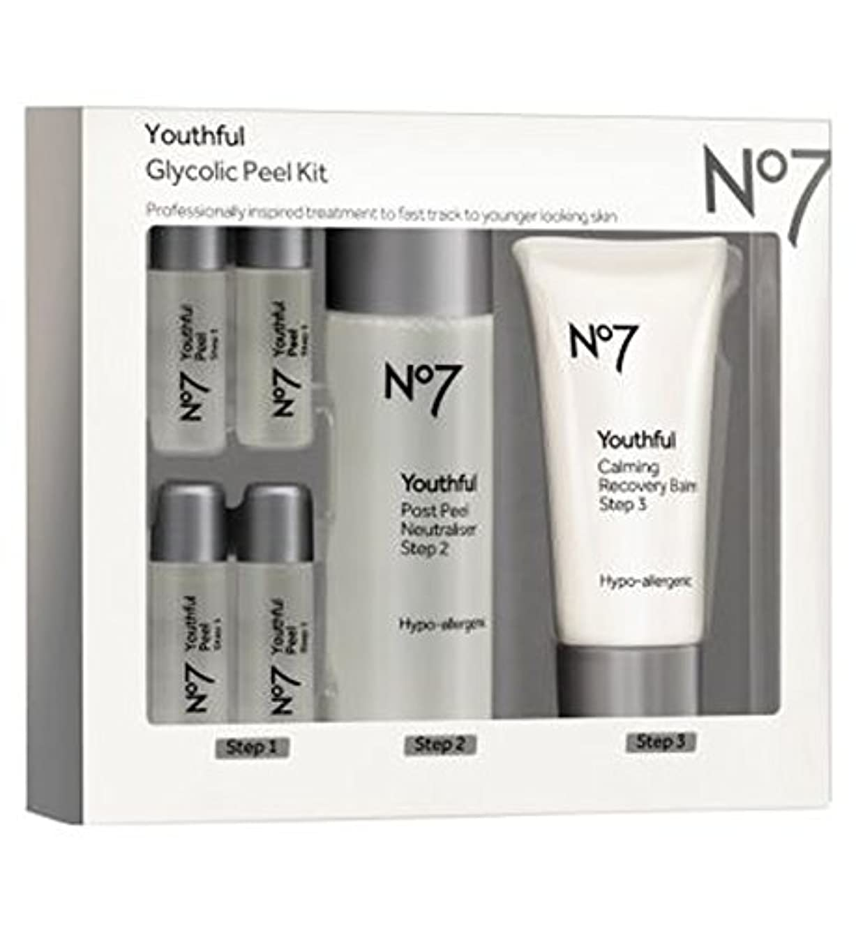 ウミウシ背景署名No7若々しいグリコールピールキット (No7) (x2) - No7 Youthful Glycolic Peel Kit (Pack of 2) [並行輸入品]