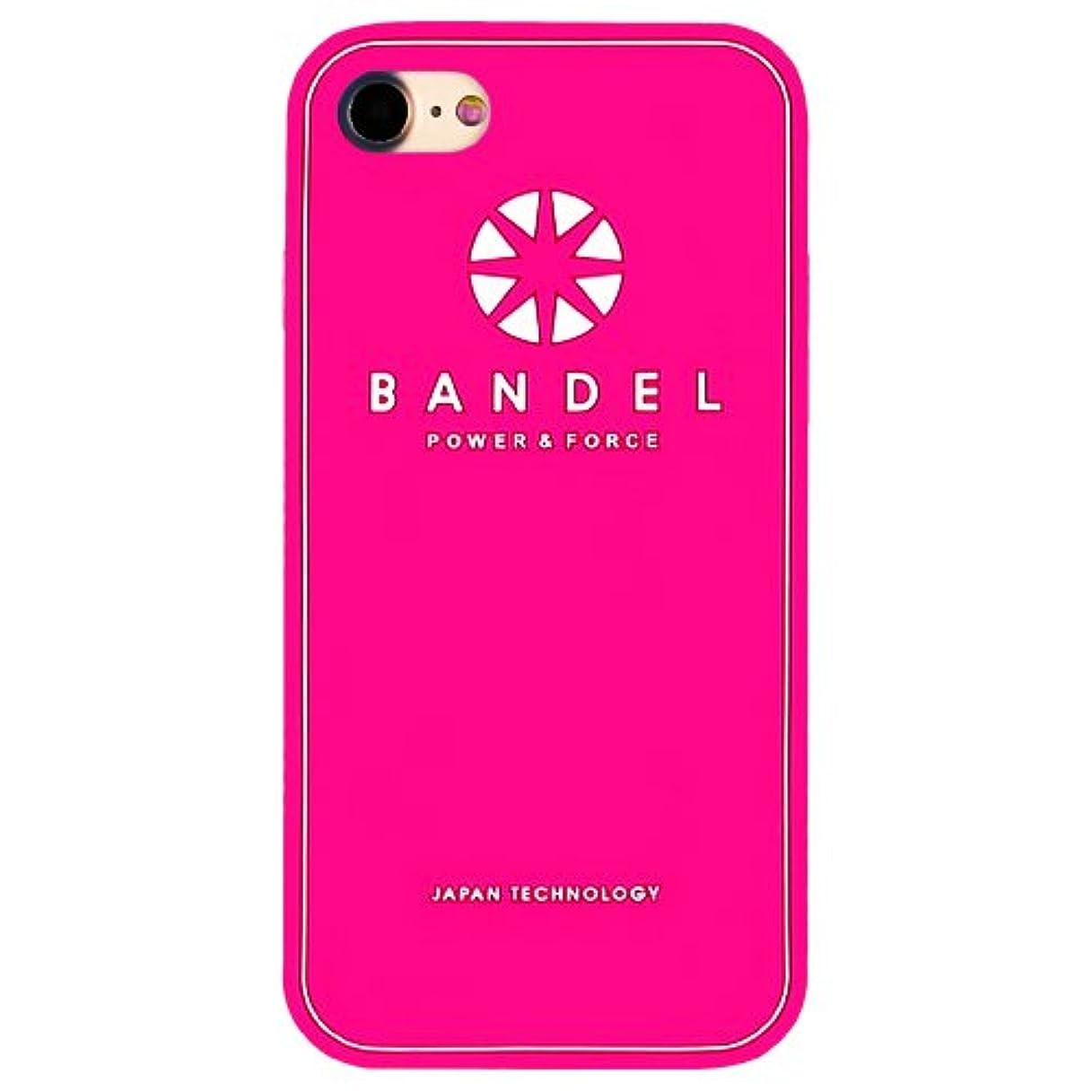 探検ダウンタウン田舎者バンデル(BANDEL) ロゴ iPhone 8 Plus専用 シリコンケース [ピンク×ホワイト]