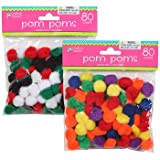 アウトドア用品 Crafters Square Pom Poms 80 Count