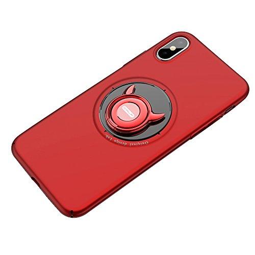 iphone x ケース リング付き 衝撃防止 [ ガラスフィルム付き ] スタンド機能 アイフォンxケース おしゃれ 軽量 薄い 携帯カバー iphonex ケース 衝撃吸収 シリコン リング付き 落下防止 バンカーリング スマホケース +Riphone x ケース リング付き 衝撃防止 スタンド機能 アイフォンxケース おしゃれ 軽量 薄い 携帯カバー iphonex ケース 衝撃吸収 シリコン リング付き 落下防止 バンカーリング スマホケース +R [ レンズ保護 耐衝撃 指紋防止 ] (iphone X, レッド)