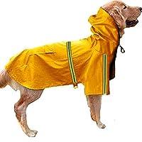 レレインコートペット ペットレレインコート 犬用 小中大型犬 カッパ 雨具 反射テープ付き 帽子付 通気 完全防水 耐久性 快適 多色 多サイズ 対応 XL-5X サイズ 32.5-50kgのペット イエロー