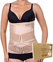 KeaBabies 3 In 1 Postpartum Belly Support Recovery Wrap - Belly Band For Postnatal, Pregnancy, Maternity - Gir