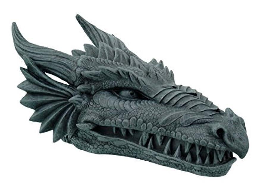 芸術強調する中止しますDesign Toscano Stryker The Smoking Dragon Sculptural Incense Box in Dark Grey Stone