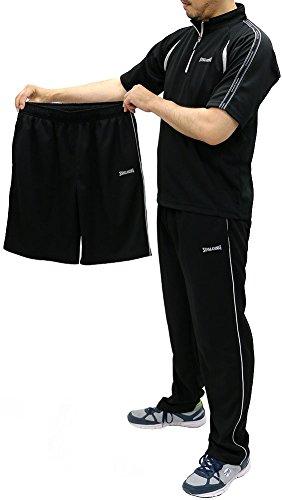 SPALDING(スポルディング) 上下セット ドライメッシュ スポーツシャツ ジャージ ロングパンツ ショートパンツ 3点セット メンズ ブラック M