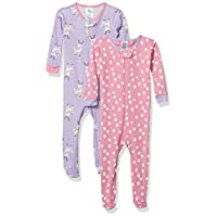 GERBER Baby Girls Organic 2 Pack Cotton Footed Unionsuit