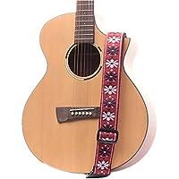 【SLOWHAND】エスニック ギターストラップ 刺繍 アコースティックギター フォークギター エレキギター ベース 長さ調節可能 (レッド・トーン)