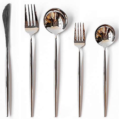 カトラリー 1人用5pcs AOOSYステンレス洋食器 ディナーセット スペインスタイル 食洗機対応カトラリー 一体ナイフ 一体スプーン 一体フォーク 家族用カトラリーセット (シルバー, 1人用)