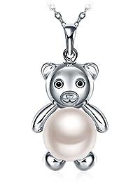 ペンダント ネックレス レディース シルバー925 チェーン GUNDULA 「真珠を抱く小熊」 人工パール 誕生日 記念日 プレゼント 45+5cm