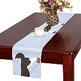 GGSXD テーブルランナー かわいい ハスキー クロス 食卓カバー 麻綿製 欧米 おしゃれ 16 Inch X 72 Inch (40cm X 182cm) キッチン ダイニング ホーム デコレーション モダン リビング 洗える
