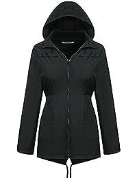 通気性のある 防水 防風 アウトドア レインコート フード付き ジャケット ジッパー ジャケット ジャケット レインコート ブラック 女性の レインコート (サイズ : M)