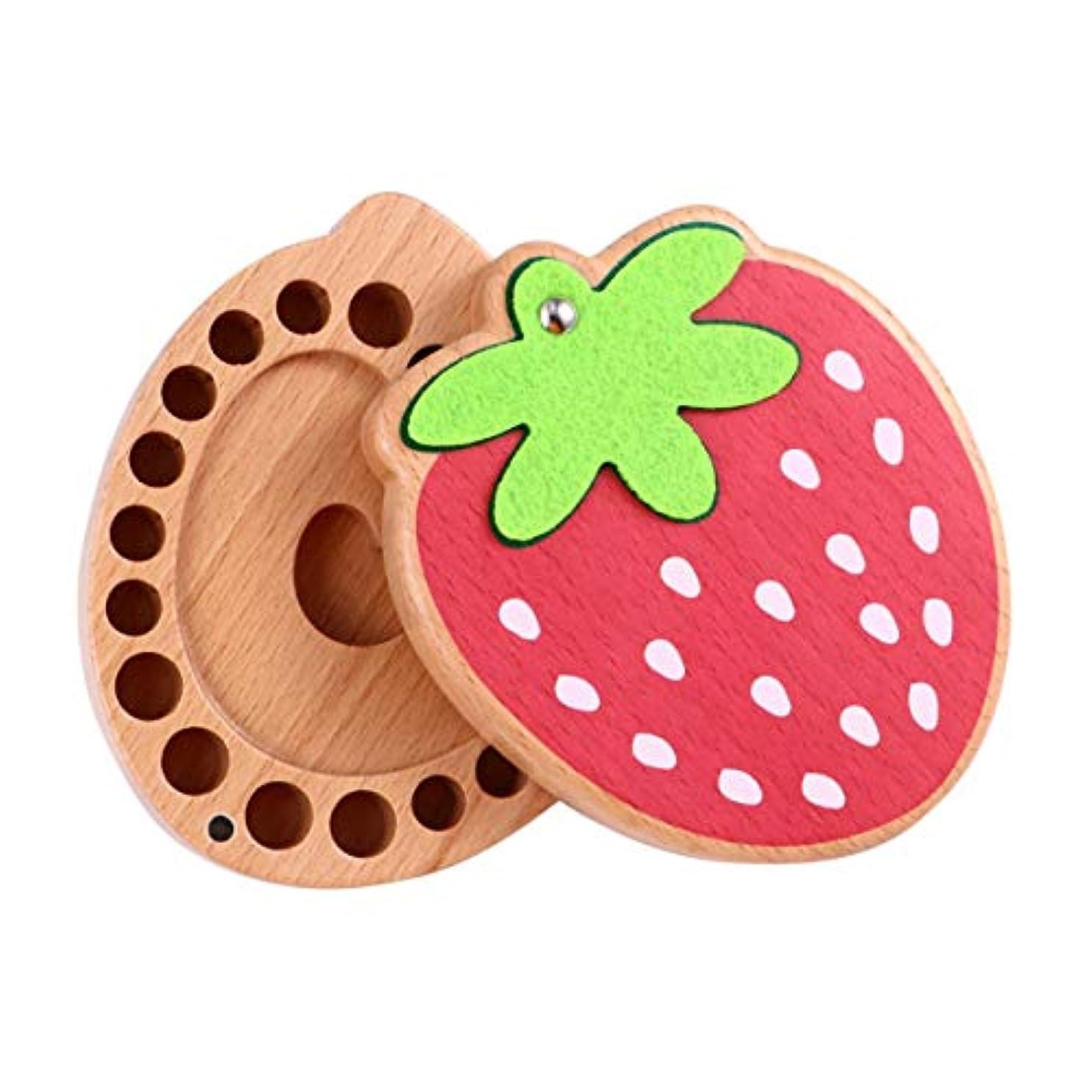 現代のスイジーンズNUOBESTY 赤ちゃんの歯の記念品ボックス歯の妖精ホルダー木製イチゴ形状落葉性最初の歯のカール記念品コレクションオーガナイザー収納ホルダー赤ちゃん男の子女の子