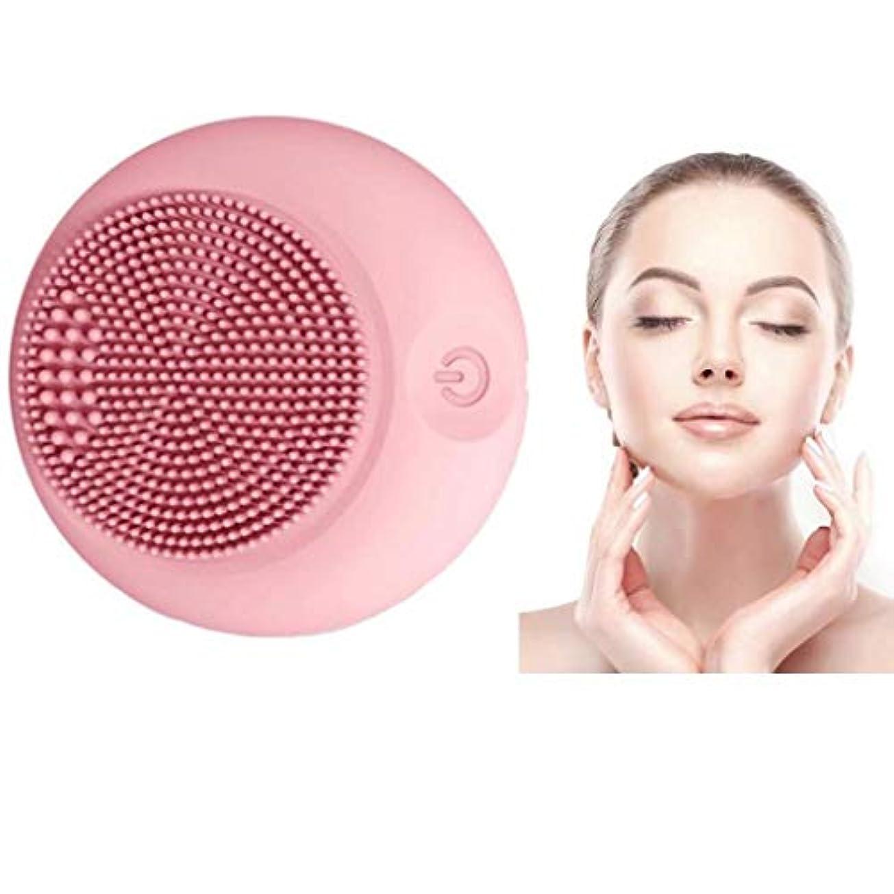 評価する合理化忙しいクレンジング楽器、シリコンクレンジングブラシ、電動ウォッシュブラシ、シリコンフェイシャルマッサージ、ポータブル超音波振動、肌を清潔に保ち、防水、すべての肌タイプに適して (Color : Pink)