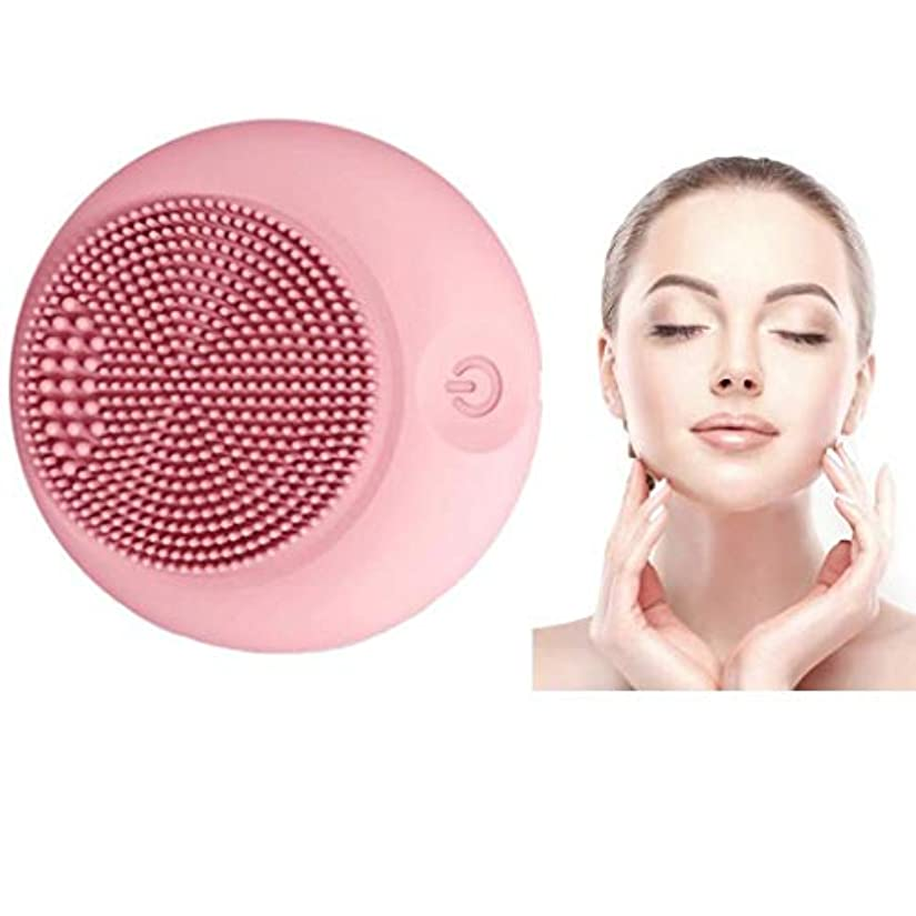 くコンテンポラリー薄汚いクレンジング楽器、シリコンクレンジングブラシ、電動ウォッシュブラシ、シリコンフェイシャルマッサージ、ポータブル超音波振動、肌を清潔に保ち、防水、すべての肌タイプに適して (Color : Pink)