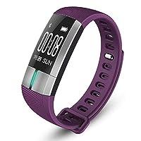 フィットネス活動トラッカー、スポーツランニングリスニング音楽睡眠モニター歩数計カロリースポーツランニングBluetoothスマートブレスレットfor Android/Ios (Color : 紫の)