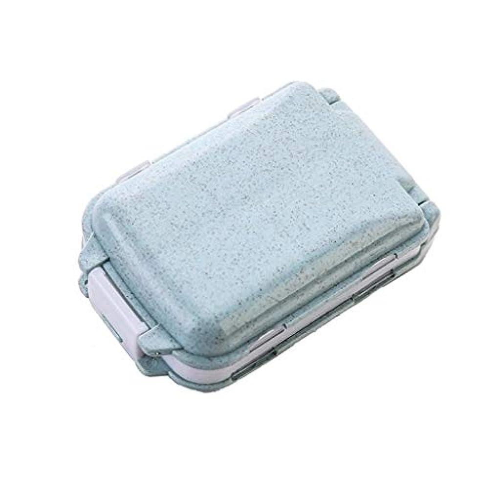 傾向宣教師取り替える家庭用小型ピルボックスポータブル薬箱一週間旅行ポータブルピル薬ディスペンス薬箱ミニピルボックス LIUXIN (Color : Blue, Size : 10cm×3.8cm)