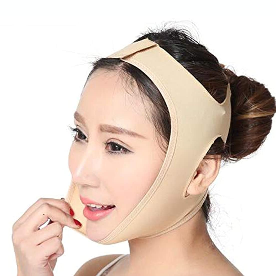 ホイール衝撃実り多い薄い顔ベルト、超薄型通気性の二重あごアンチリンクルリフティングフェイシャルマスクファーミングフェイスVフェイス手術シェーピングベルト (Color : A)