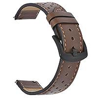 BEAFIRY 本革 クイックリリース スプリングバーウォッチバンド 時計バンド パーソナライズされた穴デザイン リストストラップ メンズ レディース 18mm 20mm 22mm 20mm brown black holes black buckle