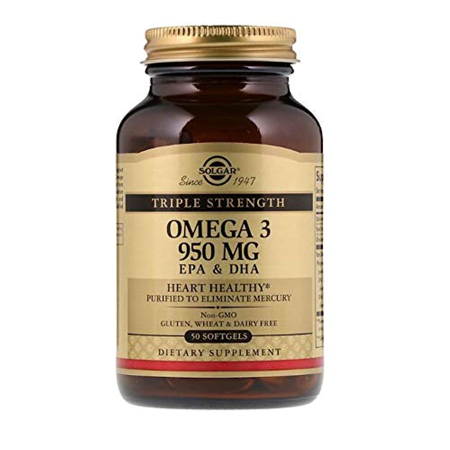 木製残酷陰気Solgar オメガ 3 EPA DHA トリプルストレングス 950mg 50ソフトジェル 【アメリカ直送】