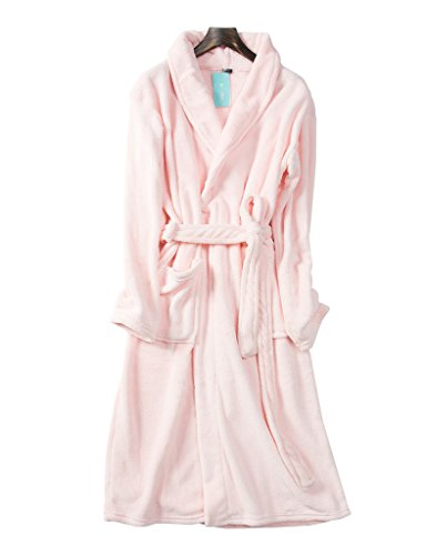 (キク)QUICOO おしゃれ ロング バスローブ マイクロファイバー レディーズ パジャマ タオル地 吸水 速乾 長袖 ポケット付き 前開き フリーサイズ かわいい ルームウェア 無地 ピンク
