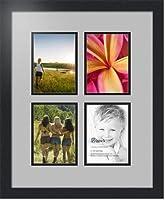 (アートトゥフレームズ)ArtToFrames アルファベット写真画像フレーム  4 x 6インチ 4 窓 サテンブラックフレーム 4 - 5x7 Double-Multimat-3-88/89-FRBW26079