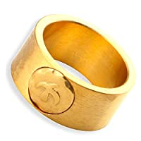 「silverKYASYA」メンズ リング シルバー ゴールド ネイティブ定番リング 平打ちリング 指輪 金イーグルメタル ステンレスサージカル! (ゴールド-21号)