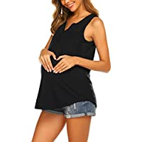 Ekouaer Maternity Top Women's Summer Sleeveless Buttons Up Neck Maternity Shirt Pregnancy Clothes for Breastfeeding S-XXL