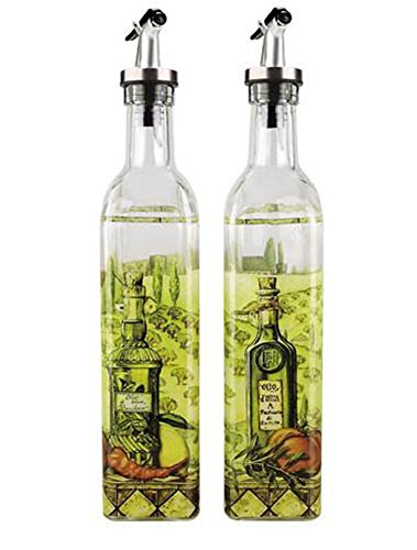 お洒落なキッチン用品 オイルボトラー ビネガーボトラー 2本セット (絵) (ボトル)