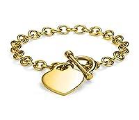 Verona Jewelers レディース ゴールドメッキ リンクトグルハートチャームブレスレット