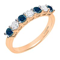 18K ローズゴールド 3 mm ラウンドジェムストーン & ダイヤモンド レディース 7 ストーン 記念日 結婚指輪