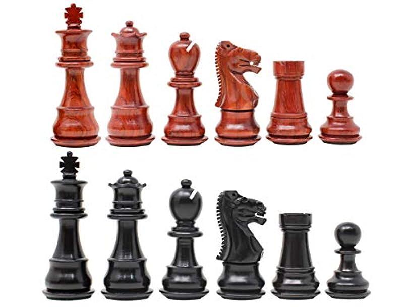 House of Chess - Galaxy Staunton 黒檀 / 血の木製チェスセット キングサイズ 3インチ トリプルウェイト + 予備のクイーン2個