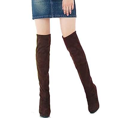 (ミネトメ)Minetom レディース 女性 靴 膝を超える ストレッチ 靴 ブーツ ハイヒール セクシー 着痩せ 無地 シンプル 冬 ( ブラウン 22.5cm)