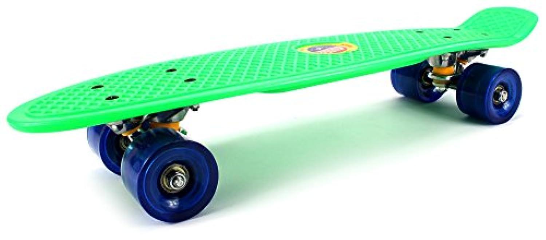 Classic Mini Cruiser Complete 22 Inch Banana Skateboard Set w/ Metal Trucks, High Quality Bushings, ABEC-7 Bearings (Green) by Velocity Toys