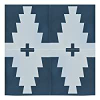 Moroccan Mosaic & Tile House CTP69-02 Midar 8x8 Inch Handmade Cement Tile in Navy Blue and White(Pack of 12), Nay Blue/White [並行輸入品]
