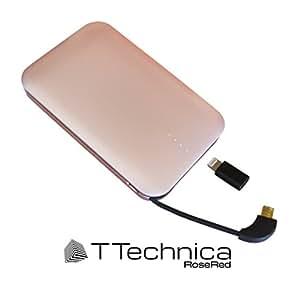 モバイルバッテリー スマホ 充電器 薄型 軽量 ケーブル内蔵 Lightning (ライトニング) & MicroUSB 対応 - 新 iPhone & Android おしゃれで人気の急速 携帯充電器 USBポート 2台同時充電可 持ち運び簡単 期間限定レザーケース付 全額返金保証&365日の安心保証付き(ローズレッド)