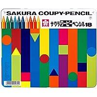 サクラクレパス 色鉛筆 クーピー 18色 缶ケース入り FY18