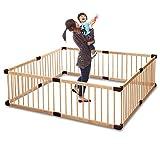RiZKiZ 木製ベビーサークル 【ナチュラル】 8枚セット 高さ55cm 大きさ 形組み換え可能 簡単設置 赤ちゃん