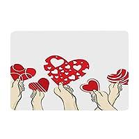 Top Homie バレンタイン ホワイトデー クリエイティブ LOVE ハート ラグマット フランネル 浴室 洗面所 寝室 滑り止め 速乾 吸水 バスマット インテリア
