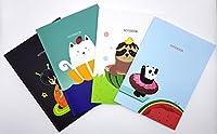 動物ノートブック、7.2X 10.1インチ、40シート、4デザイン、4パック