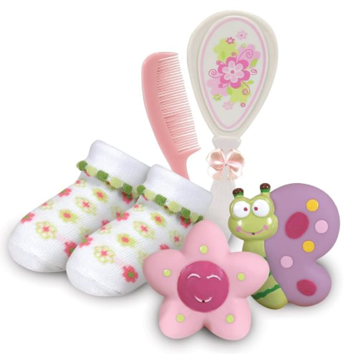 Stephan Baby Bath Squirters, Bootie Socks and Brush/Comb Gift Set, Swirly Flower by Stephan Baby