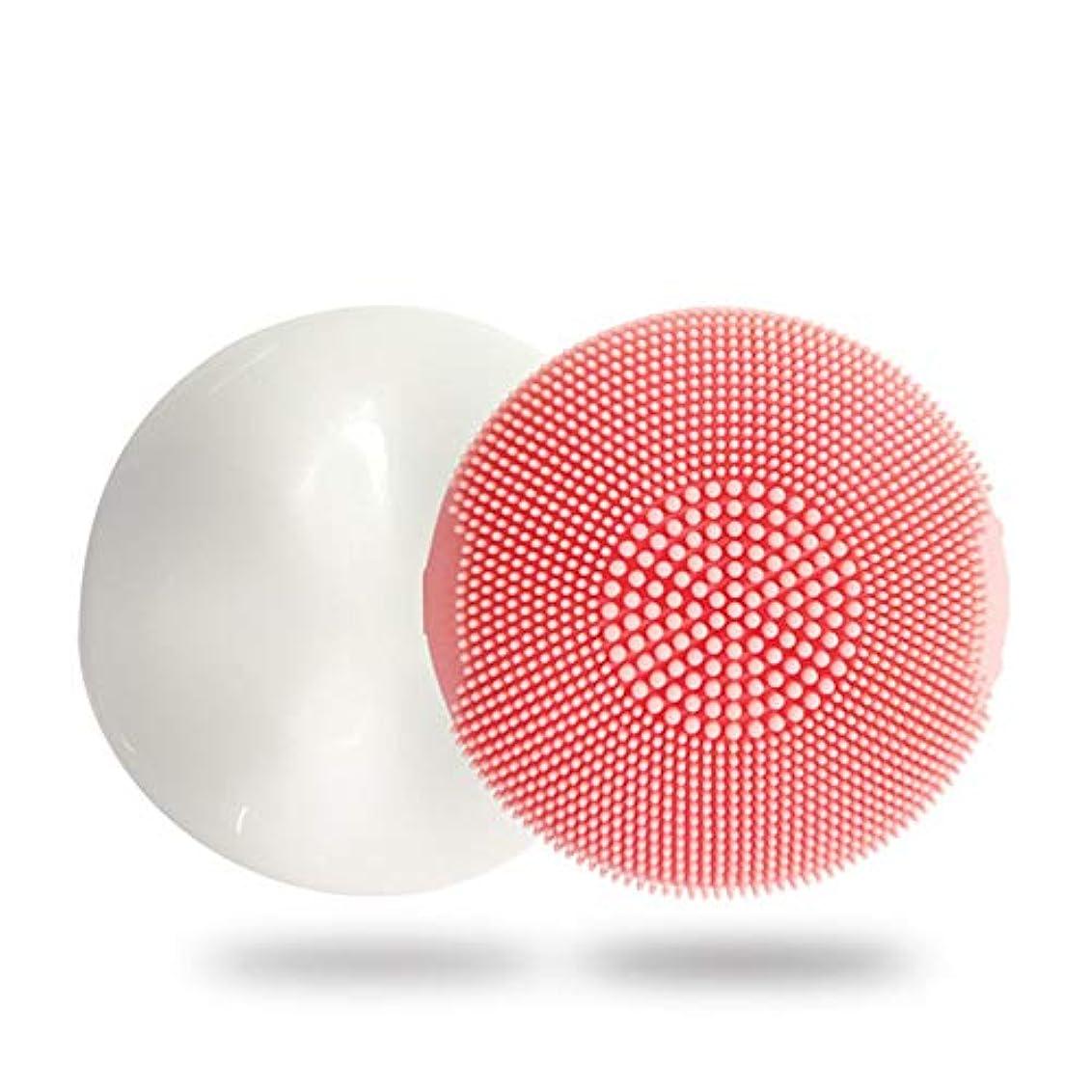 印象派私達変成器ZXF 新電動シリコーンクレンジングブラシディープクリーニングポア防水超音波振動クレンジング楽器マッサージ器具美容器具 滑らかである (色 : Pink)