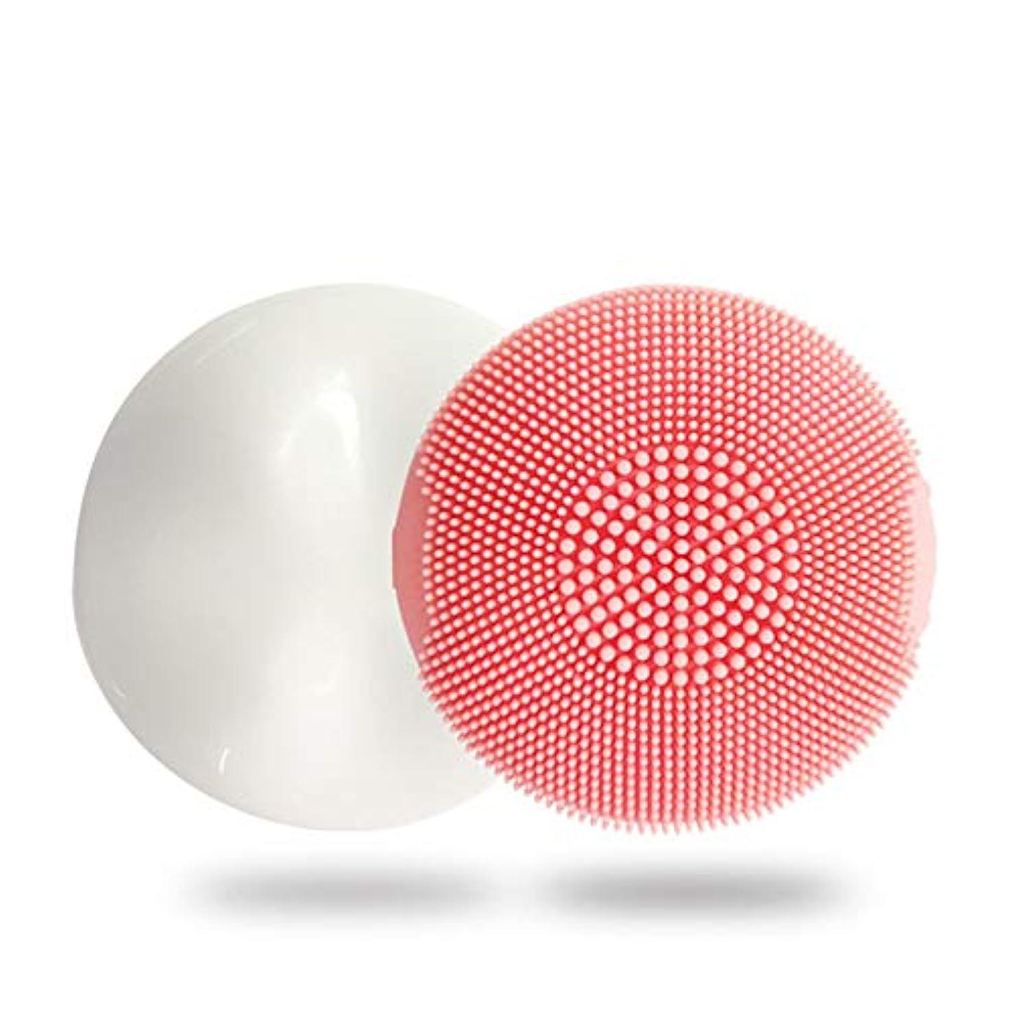 ファーム騒乱微生物ZXF 新電動シリコーンクレンジングブラシディープクリーニングポア防水超音波振動クレンジング楽器マッサージ器具美容器具 滑らかである (色 : Pink)