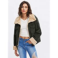 INFASHION Women's Army Green Preppy Corduroy Contrast Short Faux Fur Jacket with Roll Up