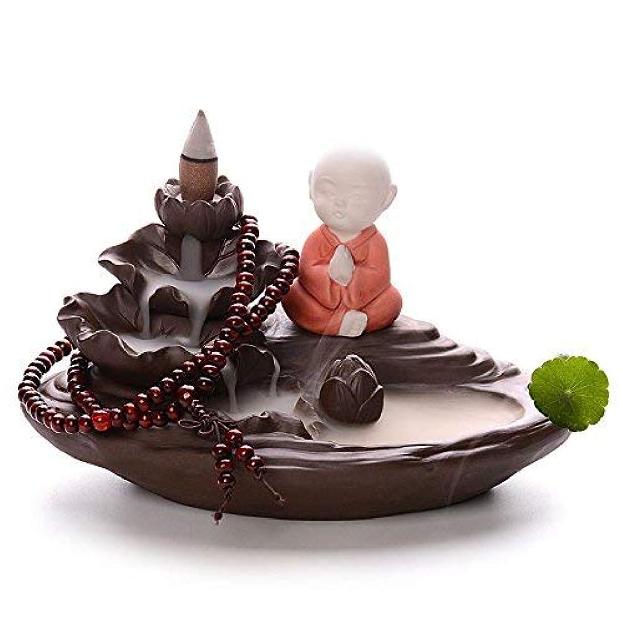 セラミック逆流香炉Little Monk Incense Tower Burner +ギフト10 Cones オレンジ