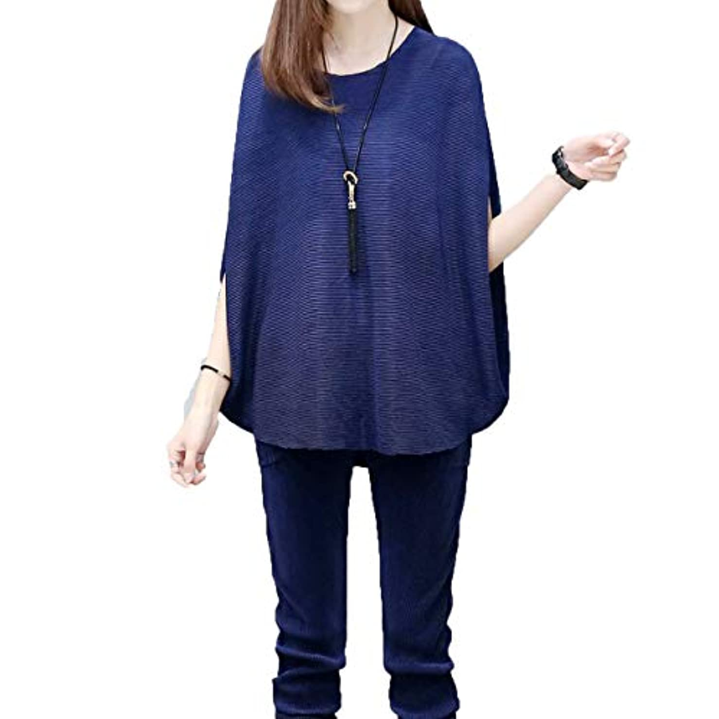 [ココチエ] レディース トップス Tシャツ 二の腕 カバー 半袖 ノースリーブ プルオーバー ゆったり 大人体型 体型カバー おおきいサイズ おしゃれ 黒 ネイビー