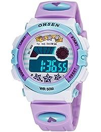 腕時計 こども用 女の子 キッズ デジタル時計 スポーツウォッチ 入学準備 多機能 LED パープル