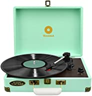 mbeat Woodstock Retro Briefcase Turntable Record Player Built-in Speakers 3 Speed Play Tiffany Blue