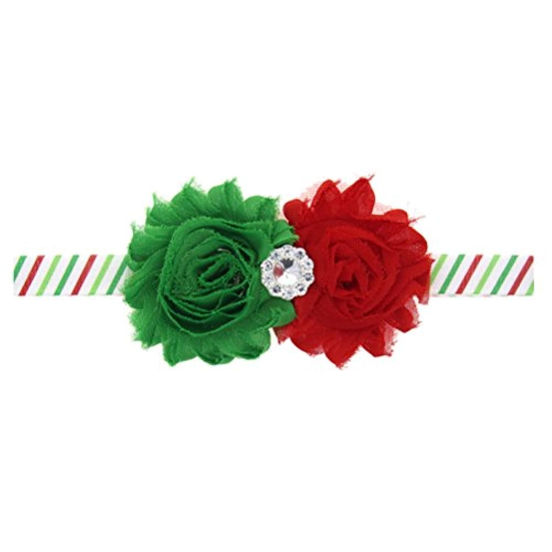 Zhhlaixing ベビー小物 Christmas Baby Girls Toddler Kids Chiffon Tow Flowers Headband Hairband Hair Accessories