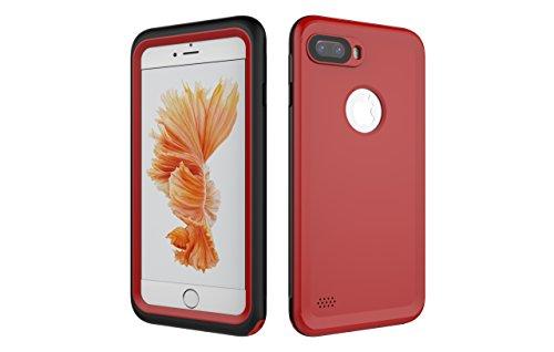 Iphone 7 Plus 防水電話ケースは、HBER IP68完全密閉水泳ダイビング水中防塵耐雪性の耐震ヘビーデューティケースカバーは、iphone7 plusのために敏感な画面タッチ指紋認証ロック解除をサポートしています (赤)